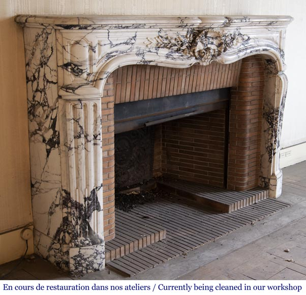 Antique Louis XV style fireplace in Serravezza marble-3
