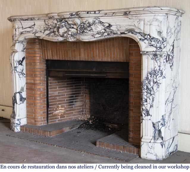Antique Louis XV style fireplace in Serravezza marble-6