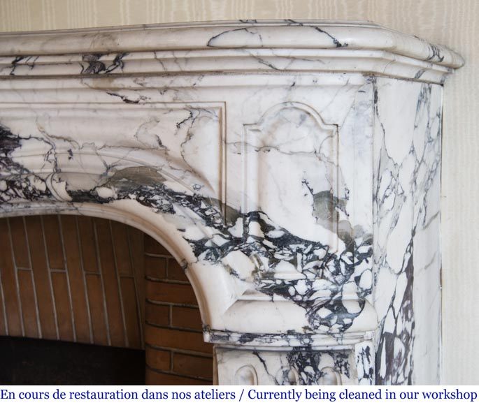 Antique Louis XV style fireplace in Serravezza marble-7