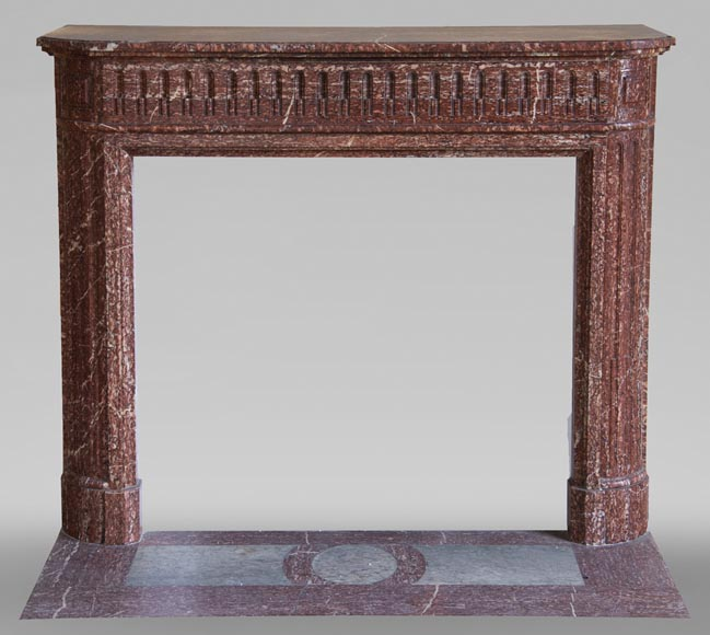 Antique Louis XVI style fireplace with rounded corners in Griotte marble from the Pyrenees-0