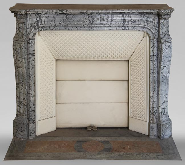 Antique Louis XV style curved Pompadour fireplace in Bleu Fleuri marble-0