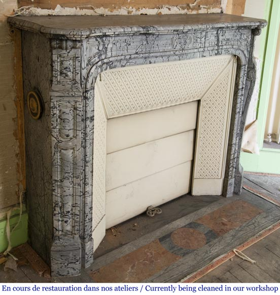 Antique Louis XV style curved Pompadour fireplace in Bleu Fleuri marble-2