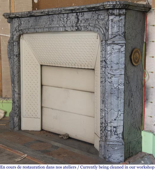 Antique Louis XV style curved Pompadour fireplace in Bleu Fleuri marble-5