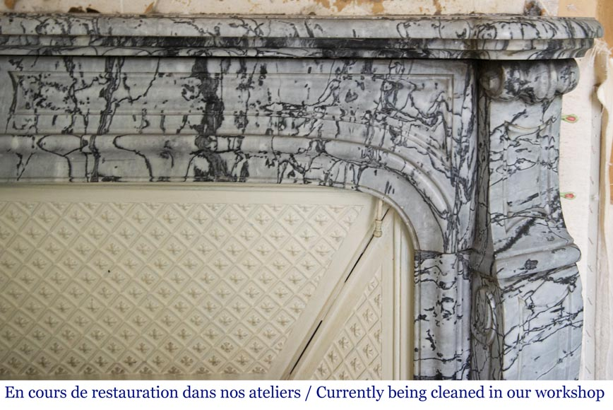 Antique Louis XV style curved Pompadour fireplace in Bleu Fleuri marble-6