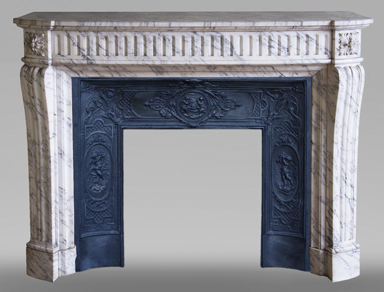 Louis XVI style fireplace made of Arabescato marble-0