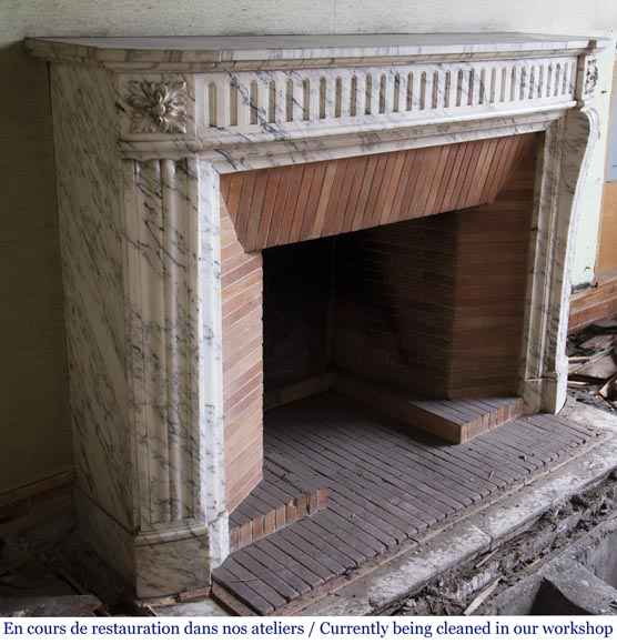 Louis XVI style fireplace made of Arabescato marble-2