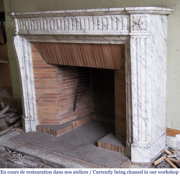 Louis XVI style fireplace made of Arabescato marble-5