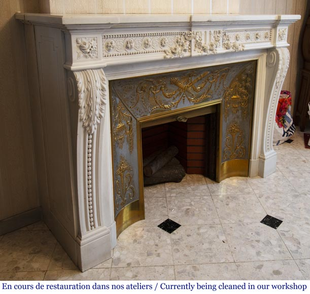 Antique Louis XVI style fireplace in White P de Carrara marble-6
