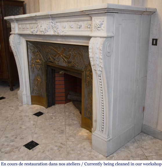 Antique Louis XVI style fireplace in White P de Carrara marble-10