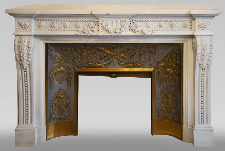 Exceptional antique Louis XVI style mantel in Blanc P de Carrara marble ornamented with pearls and garlands of flowers-0