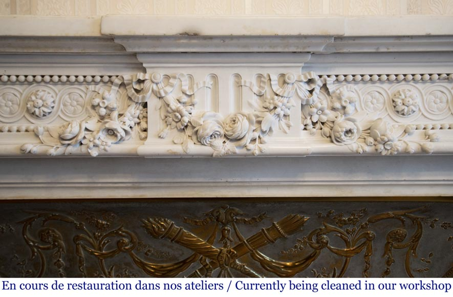 Exceptional antique Louis XVI style mantel in Blanc P de Carrara marble ornamented with pearls and garlands of flowers-1