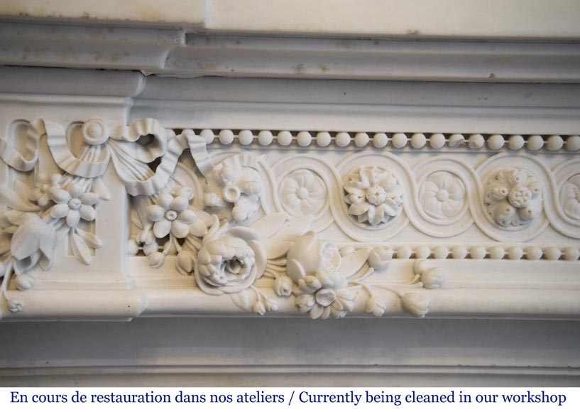 Exceptional antique Louis XVI style mantel in Blanc P de Carrara marble ornamented with pearls and garlands of flowers-3