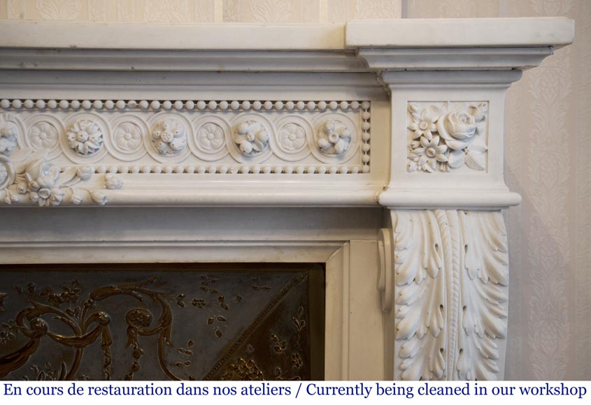 Exceptional antique Louis XVI style mantel in Blanc P de Carrara marble ornamented with pearls and garlands of flowers-11