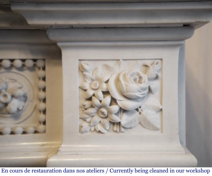 Exceptional antique Louis XVI style mantel in Blanc P de Carrara marble ornamented with pearls and garlands of flowers-12