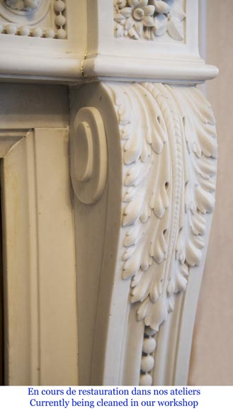 Exceptional antique Louis XVI style mantel in Blanc P de Carrara marble ornamented with pearls and garlands of flowers-13