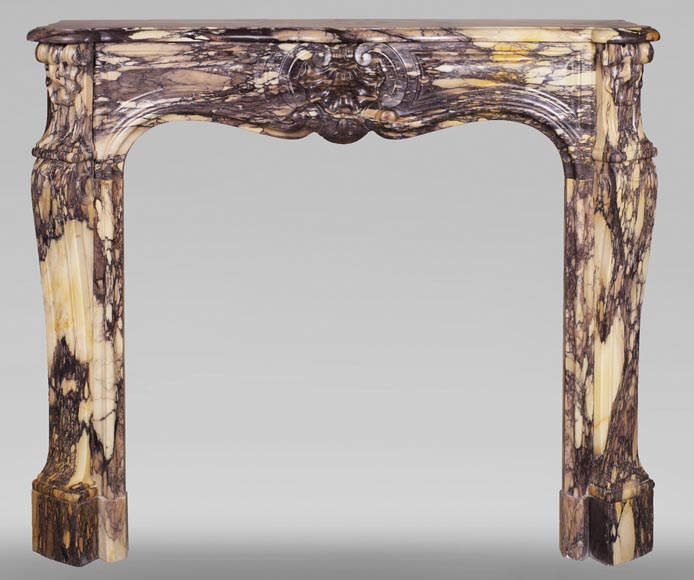 Antique Louis XV style mantel with three shells in yellow and purple marble-0