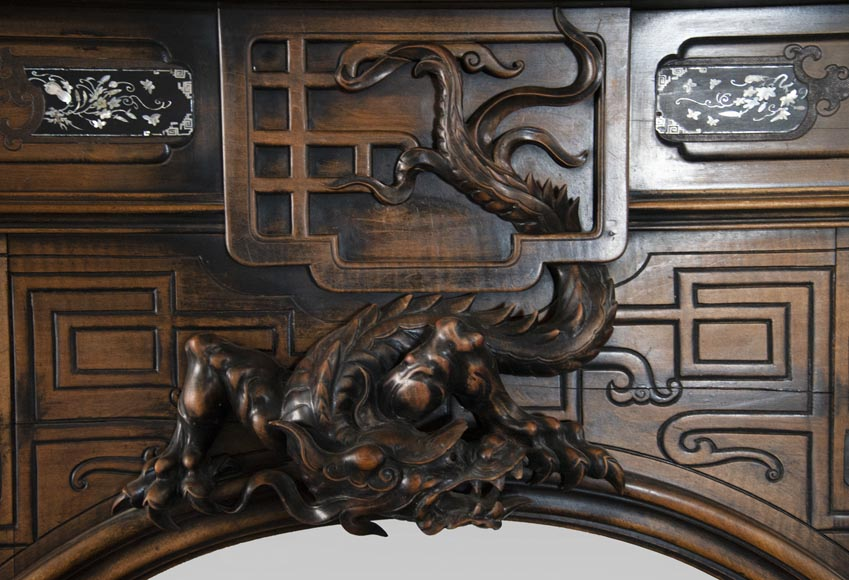Maison des Bambous Alfred PERRET and Ernest VIBERT (attributed to) - Japanese style carved wood fireplace-1