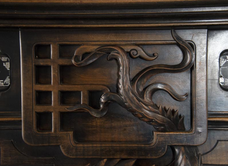 Maison des Bambous Alfred PERRET and Ernest VIBERT (attributed to) - Japanese style carved wood fireplace-3