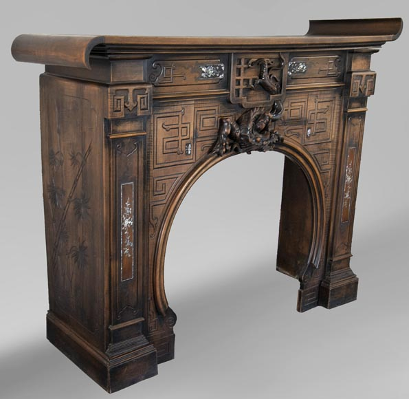 Maison des Bambous Alfred PERRET and Ernest VIBERT (attributed to) - Japanese style carved wood fireplace-5