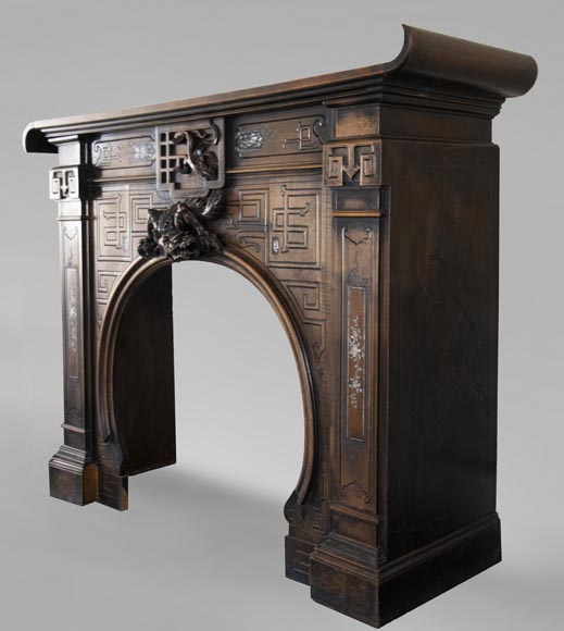 Maison des Bambous Alfred PERRET and Ernest VIBERT (attributed to) - Japanese style carved wood fireplace-9