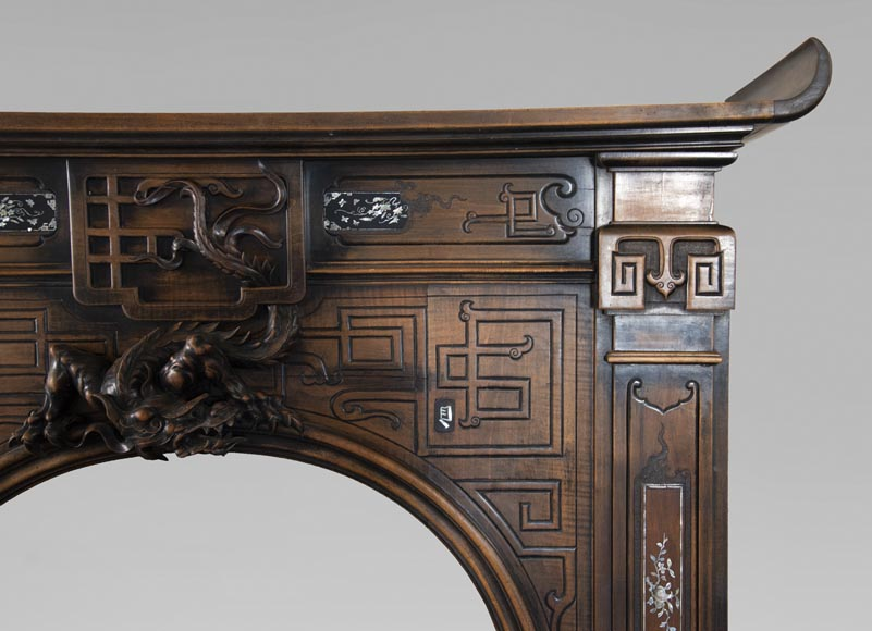 Maison des Bambous Alfred PERRET and Ernest VIBERT (attributed to) - Japanese style carved wood fireplace-10