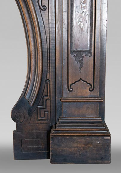 Maison des Bambous Alfred PERRET and Ernest VIBERT (attributed to) - Japanese style carved wood fireplace-11