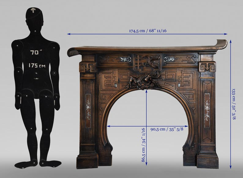 Maison des Bambous Alfred PERRET and Ernest VIBERT (attributed to) - Japanese style carved wood fireplace-13