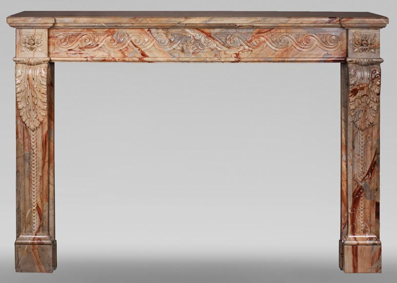 Antique Louis XVI style mantel in Sarrancolin Fantastico marble-0