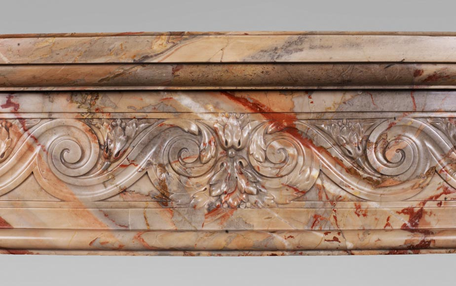 Antique Louis XVI style mantel in Sarrancolin Fantastico marble-1