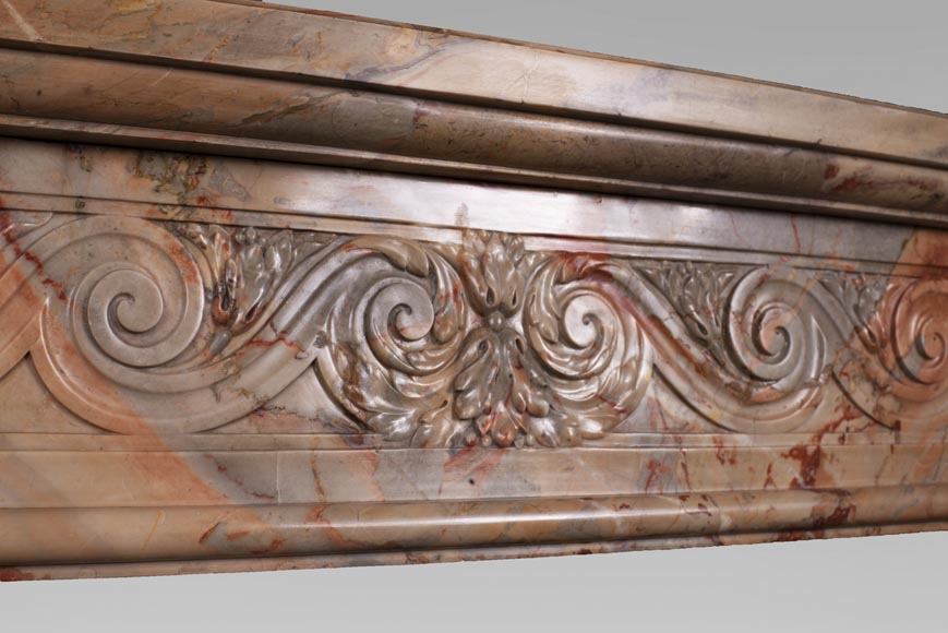 Antique Louis XVI style mantel in Sarrancolin Fantastico marble-2