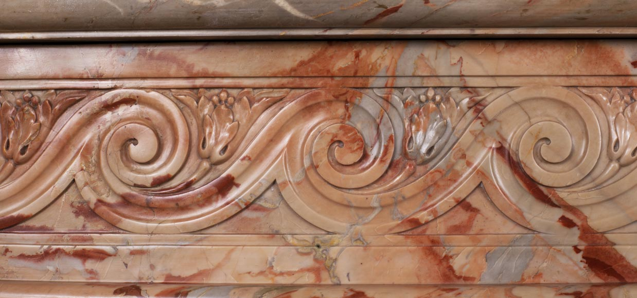Antique Louis XVI style mantel in Sarrancolin Fantastico marble-3