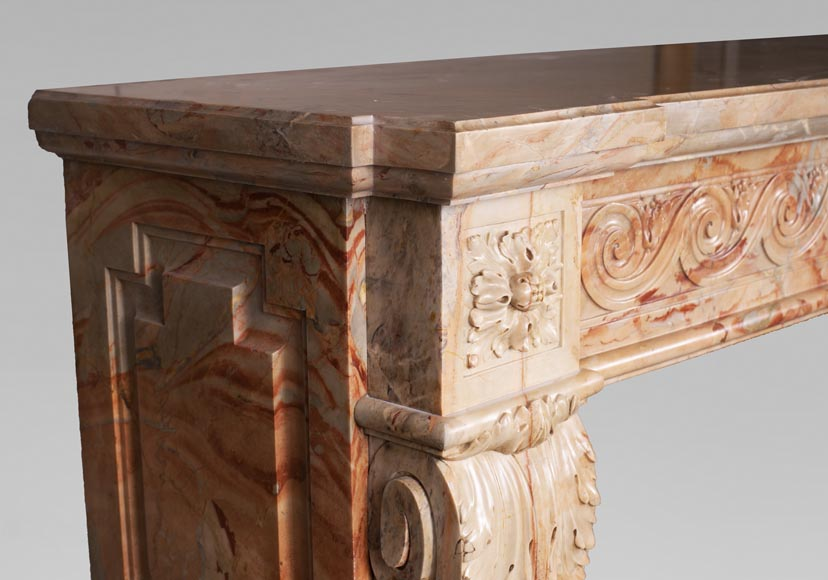 Antique Louis XVI style mantel in Sarrancolin Fantastico marble-5