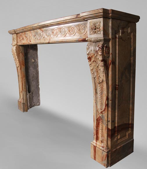 Antique Louis XVI style mantel in Sarrancolin Fantastico marble-9