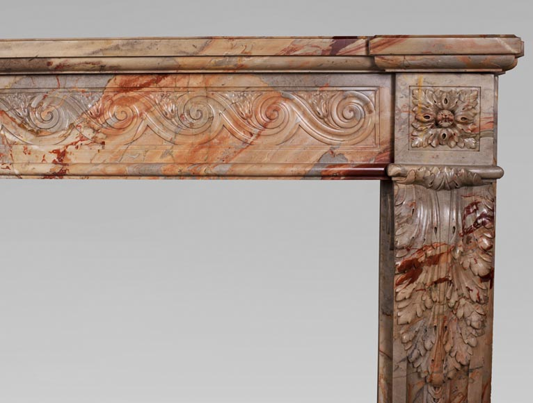 Antique Louis XVI style mantel in Sarrancolin Fantastico marble-10