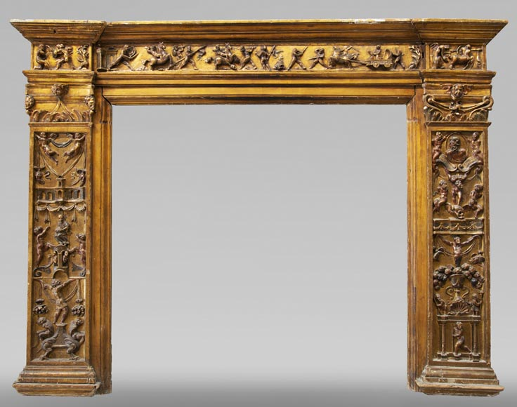 Italian 18th century fireplace in carved wood-0