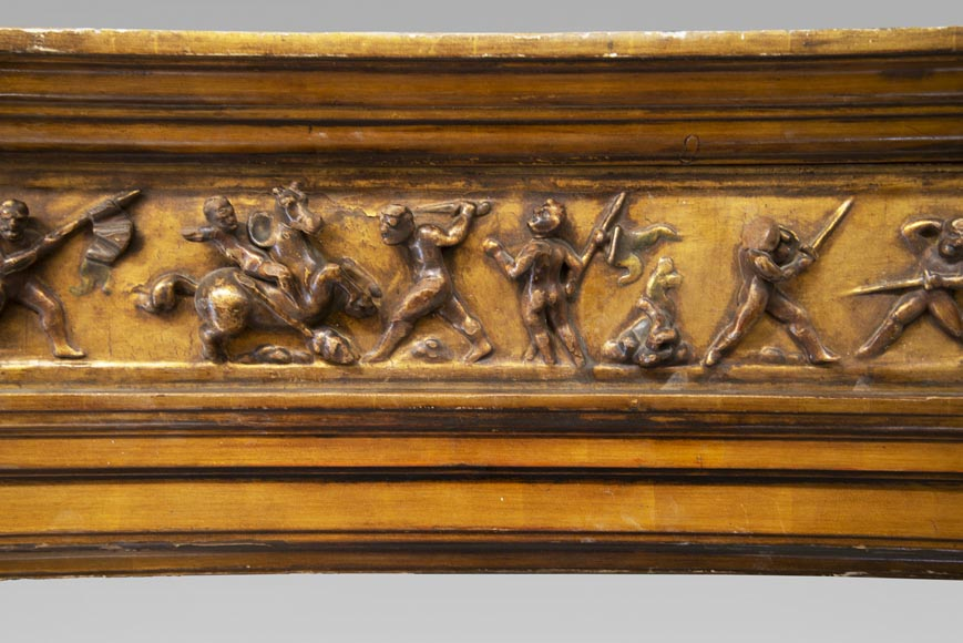 Italian 18th century fireplace in carved wood-1