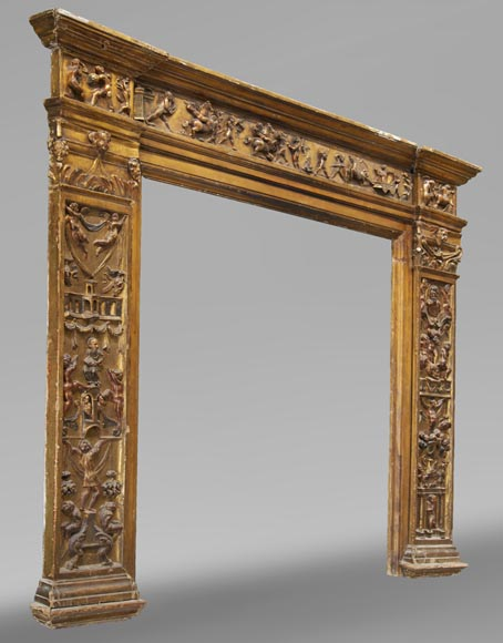 Italian 18th century fireplace in carved wood-2