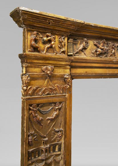 Italian 18th century fireplace in carved wood-3