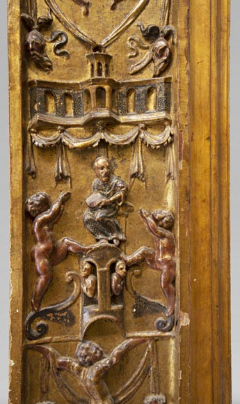 Italian 18th century fireplace in carved wood-4
