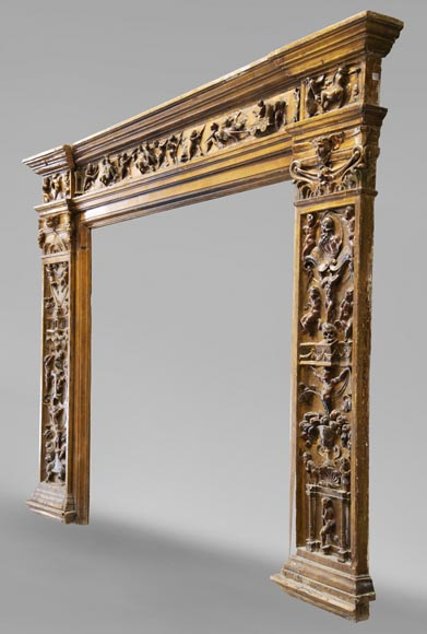 Italian 18th century fireplace in carved wood-5