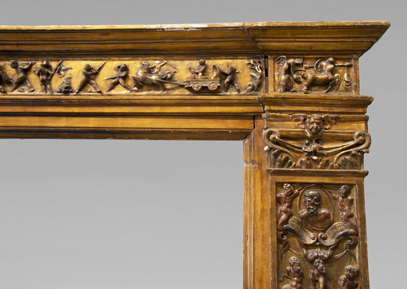 Italian 18th century fireplace in carved wood-6