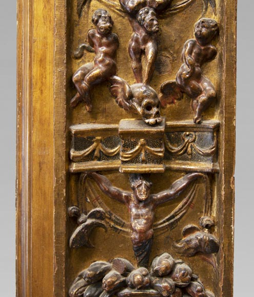 Italian 18th century fireplace in carved wood-7
