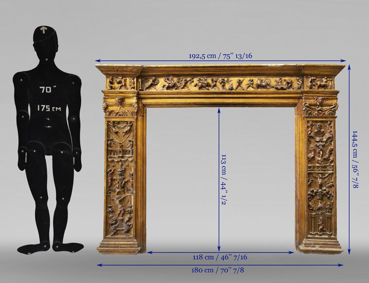 Italian 18th century fireplace in carved wood-9