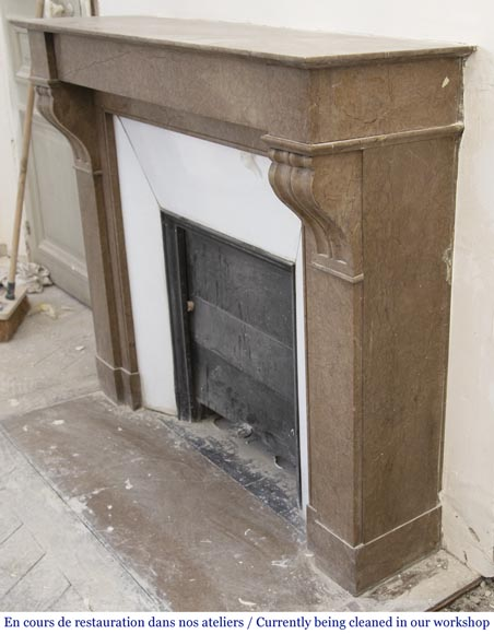 Antique Napoleon III style marble fireplace with modillions-5