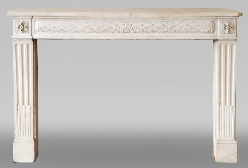 Antique Louis XVI period fireplace in statuary marble-0