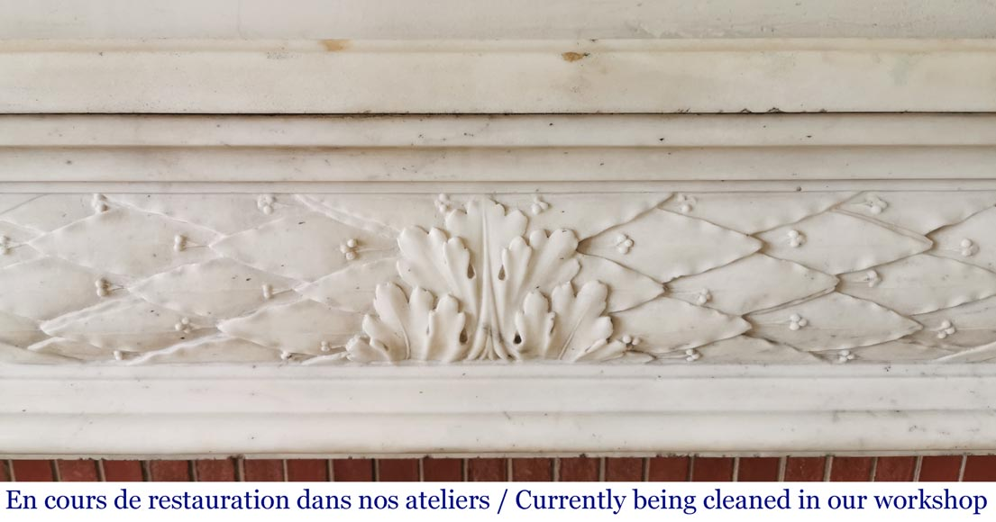 Antique Louis XVI period fireplace in statuary marble-1