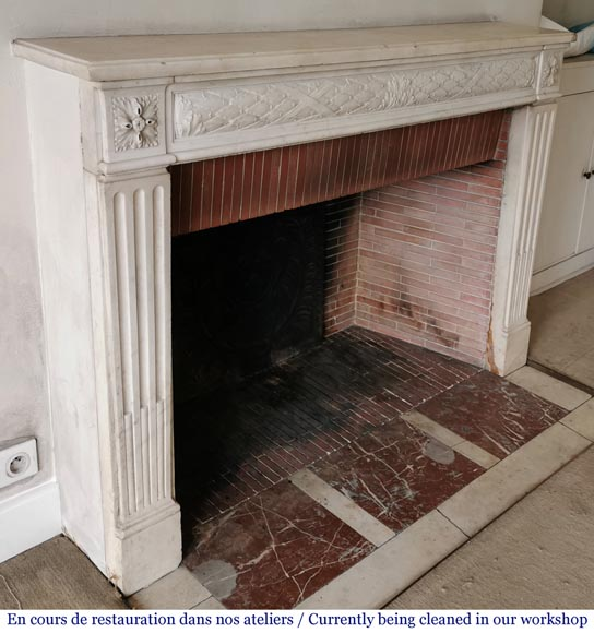 Antique Louis XVI period fireplace in statuary marble-2