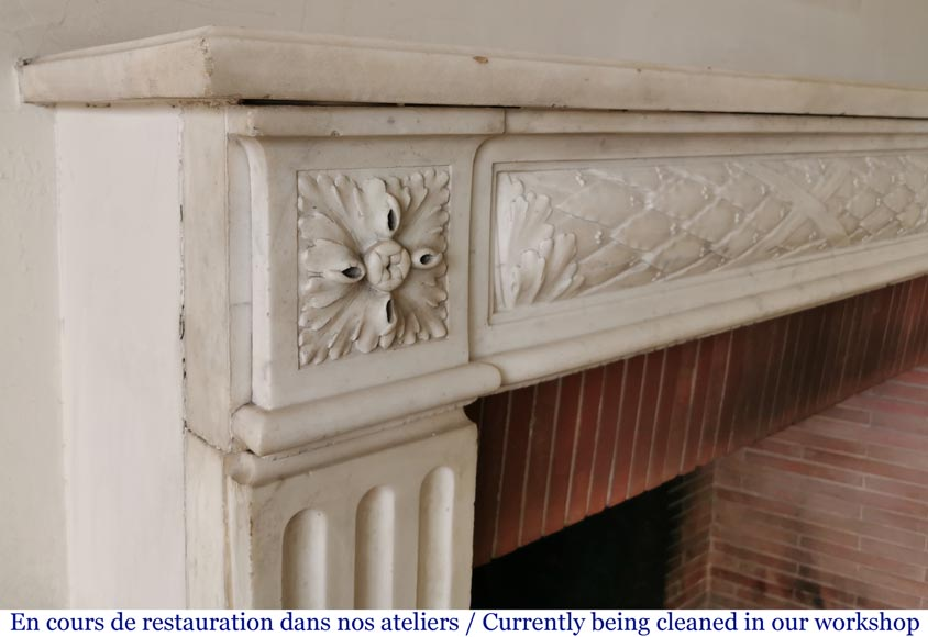 Antique Louis XVI period fireplace in statuary marble-3