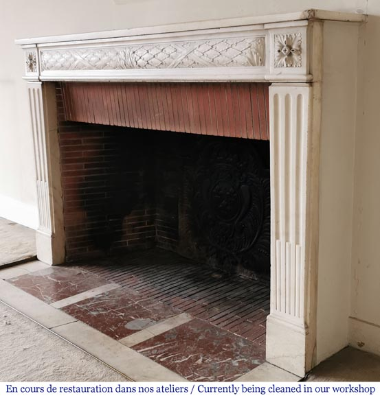 Antique Louis XVI period fireplace in statuary marble-5