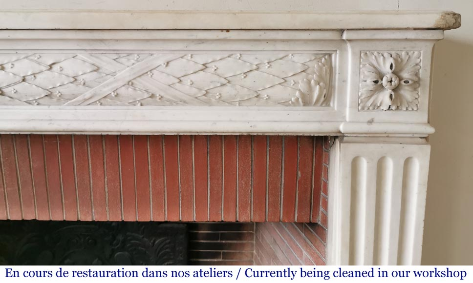 Antique Louis XVI period fireplace in statuary marble-6